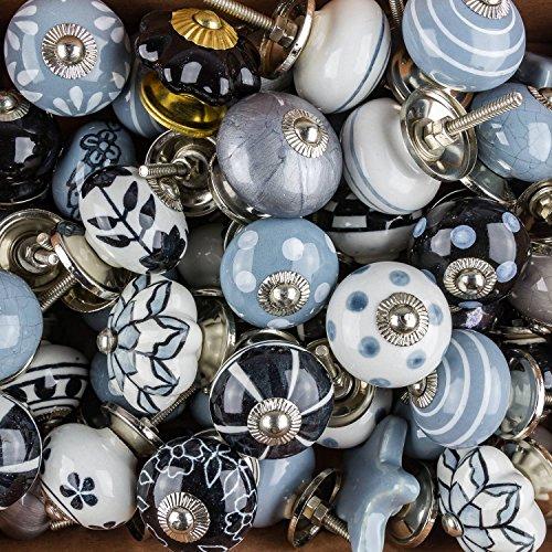 9x Perilla Muebles Tiradores Cerámica Vintage Antique Porcelana Shabby Chic Perilla Muebles Rummage oferta como un conjunto de 9 W6 negro gris azulado - Mangos, tiradores, Gabinete, Cajón, Cómoda