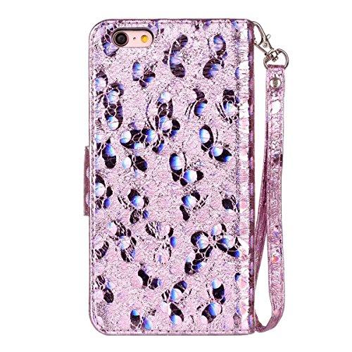 "MOONCASE iPhone 6 Plus/iPhone 6s Plus Flip Cover, [Butterfly Pattern] Leder Handyhülle Built-in Ständer TPU Stoßfest Schutz-tasche Case für iPhone 6 Plus/iPhone 6s Plus 5.5"" Golden Lavendel"