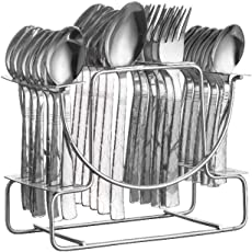 NAOE™ Losange (Cork) Cutlery Set with Steel stand/24 Piece/Stainless Steel(6 Tea Spoons,6 Dinner Spoons,6 Baby Spoons,6 Forks and 1 Stand)