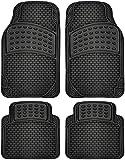 OxGord 4piezas de goma Alfombrillas ajuste universal Frente conductor pasajero asiento para coche SUV Van y camión–gris