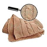SonnenStrick 3009009 caramell Babydecke/Kuscheldecke / Strickdecke 100 Prozent Bio Baumwolle mit Zopfmuster