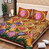 Bright Cotton Bed sheets for Double Bed 2 Pillow Cases Floral Baby Brown BCVEN-2D-03