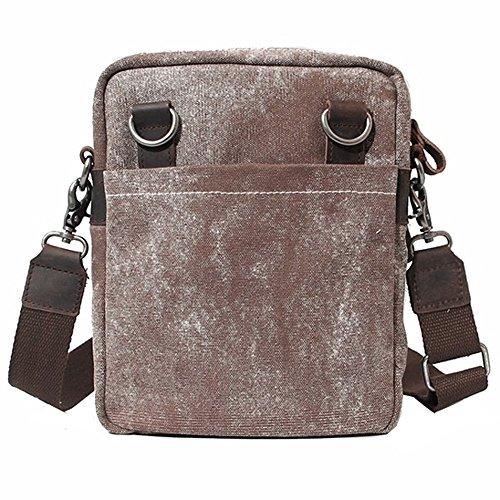 Paonies Unisex Damen Herren Canvas Leinwand klein Tasche Umhängetasche Messenger Bag Schultertasche (Kaffeebraun) Kaffeebraun