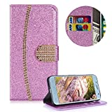 Portefeuille Coque pour Samsung Galaxy J7 2018,Housse de Protection pour Samsung Galaxy J7 2018,Moiky Élégant Luxe Bling Glitter...