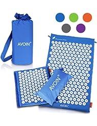 AVOIN colorlife Yogamatte - Alfombra de acupuntura 2pcs set / como una estera de extensión o rodado como cojín para una relajación y relajación efectiva - Estera de relajación médica con 6210 puntos de presión, diferentes colores para elegir