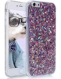 EUWLY iPhone 6/6S Case Cover,Glitter Silicone Case for iPhone 6/6S,Shiny Sparkle Bling Glitter Ultra Slim Silicone Case for iPhone 6/6S Back Cover Gel Silicone Shockproof Protective Bumper Rubber Exact Fit Flexible Soft TPU Slim Protective Cover Case for iPhone 6/6S + 1 x Blue Stylus Pen,Bling-Pink