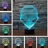 3D Lampada da Tavolo,KINGCOO 3D Optical Illusion Visiva illuminazione luce Notturna 7Cambiamento Colore Pulsante Touch USB Atmosfera Lampada da Notte LED (Alieno)