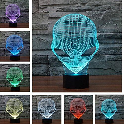 3D Tisch Nachttischlampen,KINGCOO 3D Optische Visualisierung LED Licht USB Schreibtischlampen Stimmungslichter Touch Schreibtisch 7 Farbwechsel Atmosphäre Lampe (Ausländer)