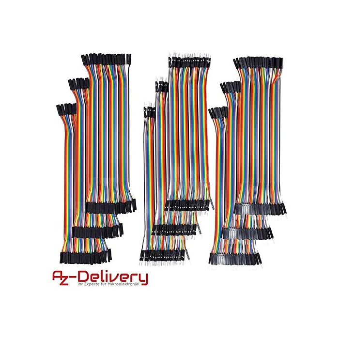 AZDelivery ⭐⭐⭐⭐⭐ Jumper Wire cables de Puente 40 piezas pines macho a hembra para Arduino y Raspberry Pi Breadboard