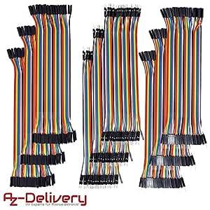 AZDelivery ⭐⭐⭐⭐⭐ Jumper Wire Dupont Cavalier Câble m2m/f2m/f2f pour Arduino – 9x40 morceaux 360pcs Câbles DuPont 3 en 1 Multicolore Fil Dupont Wire