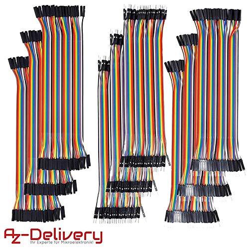 AZDelivery ⭐⭐⭐⭐⭐ 9 x Jumper Wire Kabel x 40 STK. je 20 cm M2M/ F2M / F2F für Arduino und Raspberry Pi Breadboard 9 Component-kabel