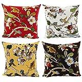 JOTOM Weiche Baumwolle Dekokissen Fall Kissenbezüge Sofa Auto Kissenbezug Home Bed Decor 45 x 45 cm, 4er Set (Blume und Vogel)