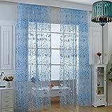 URIJK Transparant Gardinen Pastoralen Stil Gardinen Blumen Fenster Vorhang für Küche Wohnzimmer Schlafzimmer(100cmx270cm,1 Stück)