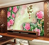 Y-Hui Wallpapers 3d large wallpaper wallpaper mural TV backdrop seamless living room pink jade carved peony home and rich,315cmx232cm