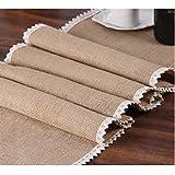 Chemin de table couleur crème en toile de jute et dentelle - 30,5x 274,3cm - Style rustique, campagnard - Pour décoration d