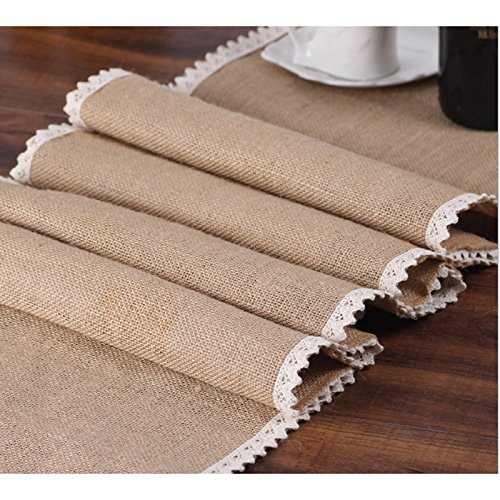 "Burlap Cream Lace Table Runner 12""x108"" Jute Table Cover for Rustic Country Outdoor Wedding Party Kitchen Décor Farmhouse Decoration"