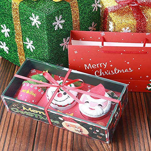 D.RoC Handtuch Set Weihnachtsmann Schneemann Weihnachtsbaum Kuchen Muster Baumwolle Handtuch Gruppe Kreative Weihnachten Geschenkbox für Kinder