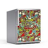 Kühlschrankmotiv Kühlschrank 60x80 cm | Design Kühlschrank-Tür Aufkleber Folie Sticker abwaschbar Kühlschrank folieren Küchen | Design Motiv Monster Doodle