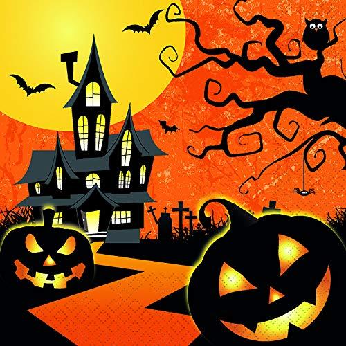 20 Servietten Halloween gruselig/Kürbis / Fledermaus/Burg 33x33cm