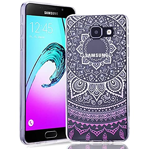 Funda para Samsung Galaxy A5 2016,SMART LEGEND Ultra Slim Carcasa de Silicona TPU Suave con Mandala Colorido y Gradient Color Diseño Flexible Resistente Arañazos Trasera TPU Protector Bumper Protección Case Cover Funda Cascara para Samsung Galaxy A5 2016 - Patrón de Rosa Romántica