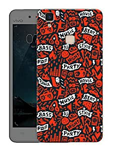 """Humor Gang Music love abstract pattern - red Printed Designer Mobile Back Cover For """"Vivo V3 Max"""" (3D, Matte Finish, Premium Quality, Protective Snap On Slim Hard Phone Case, Multi Color)"""