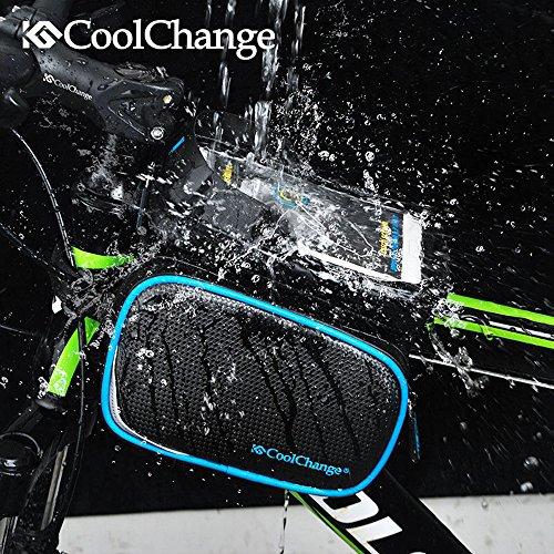 Radfahren Fahrrad Fahrrad Rahmen Pannier Sattel Front Tube Tasche Double Pouch Bag Halter, mit 6,0 / 6,2 Zoll Touchscreen Fall Schwarz + Blau