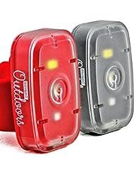 Luz de Seguridad LED / Linterna. (Pack de 2) Luces de Rojas y Blancas para correr, pasear perros, ciclismo y deportes nocturnos. Luz estroboscópica, y modos estables. Recargable mediante USB con la correa de la bicicleta, correa para el brazo y hebilla de cinturón.