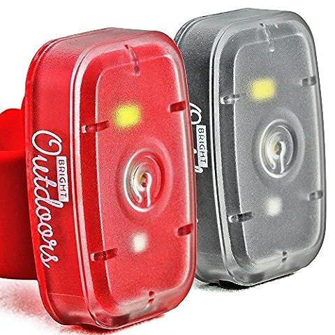 Lumière LED de Sécurité / Lampe de Poche. Eclairage Rouge & Blanche pour Courir, Marcher le Chien, Cyclisme et Sport de Nuit. Rechargeable avec USB. Sangle de Vélo, Brassard et Clip de Ceinture. Disponible en 1 PACK et 2 PACK options.