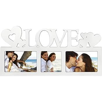 LED Bilderrahmen Collage Holz Geburtstag Hochzeit Fotorahmen Weiß Love Rahmen