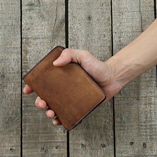 Der handgefertigte alte Männer Leder, Brieftasche, Pflanzung leder Haut, Jugend retro, vertikale Tasche Tasche, Leder Geldbörse, Bronze Brown
