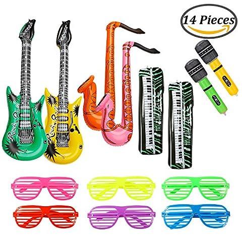 Keriber 14 pièces Gonflable Guitare Clavier Microphone Saxophone Ensemble de jouets gonflables Rock Star avec des lunettes d'ombres obturateurs Partie de musique pour les fournitures de fête, fêtes de fin d'année