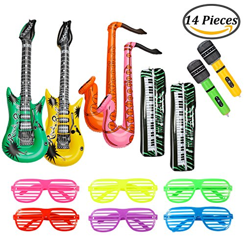Keriber 14 Stück Aufblasbare Gitarre Keyboard Mikrofon Saxophon Aufblasbare Rock Star Spielzeug Set mit Shutter Shading Gläser Musik Teil für Party Supplies, Party (Party Supplies)