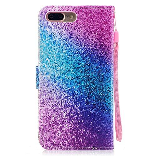 iPhone 7 Plus Hülle,Fodlon® Mode Gemalt Karte Schlitze mit Schlüsselband Telefon Schutzhülle -Weiße Katze Regenbogen Sand