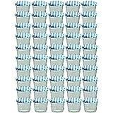 Cap+CroTo 82 Lot de 50 bocaux en verre pour conservation de confiture Couvercles bleus à carreaux Capacité 230 ml