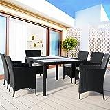 Deuba Alu Poly Rattan Sitzgruppe 6+1 Stapelbar Sitzgarnitur Gartenganitur Gartenmöbel Lounge