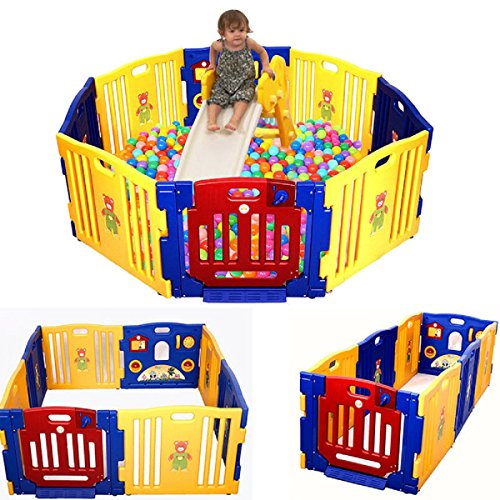 Baby Playpen Indoor Outdoor Use - Strong, Easy to Assemble Slot in Panels - No Fixings Required