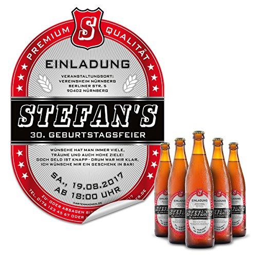30 x Bier Flaschenetikett Einladung Geburtstag selbstklebend - Markenbier