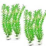 SLSON 4 Pack Aquarium Decorations Plants Green Artificial Plastic Water Plant for Fish Tank Decor,10 Inch Tall 10