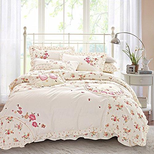 100% Baumwolle Koreanisch, floraler Stickerei Bettwäsche set König Königin Rosa Bule Mädchen Bett Bettbezug Bettlaken Bettwäsche set Geschenk (Japanische Bettwäsche-sets Königin)