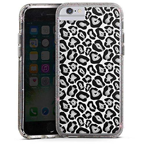 Apple iPhone X Bumper Hülle Bumper Case Glitzer Hülle Animals Tiere Graues Leo Fell Look Bumper Case Glitzer rose gold