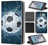 CoverFix Premium Hülle für Samsung Galaxy S5 Mini G800 Flip Cover Schutzhülle Kunstleder Flip Case Motiv (1391 Fussball Fußball Schwarz Weiß Blau)