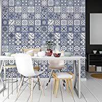 Walplus Adhesivos de pared extraíble Autoadhesivo Arte Mural VINILO DECORACIÓN HOGAR BRICOLAJE Living Cocina Dormitorio Decor papel pintado regalo Lisboa Azul Azulejos - 20 cm x 20cm - 12 PC