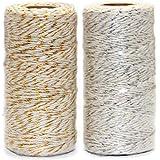 Ewparts 200 mètres 2 pin/chaîne de Fil de Coton de Couleur argentée, pour Fermoir/étiquettes de Ficelle, 2 Rouleaux (Ficelle
