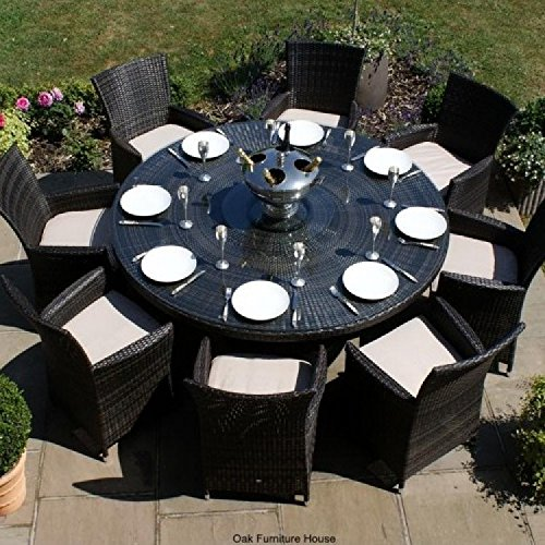 San Diego Baby Rattan Garden Furniture Brown 8 Seater Round Table Set