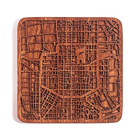 Xi'an Map Coaster, One piece, Sapele Wooden Coaster with city map, Multiple city optional, Handmade