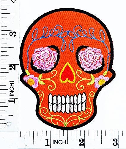 Orange Sugar Skull Rose Augen Awesome Cool Motorrad -