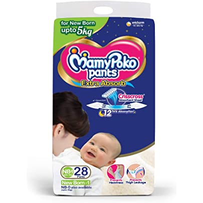 MamyPoko Pants Extra Absorb Diapers, New Born  28 Count