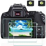 EOS 250D skärmskydd tillämpligt för Canon EOS 250D DSLR-kamera och varmskoskydd [2+3Pack], ULBTER 0,3 mm 9H hårdhet härdat gl