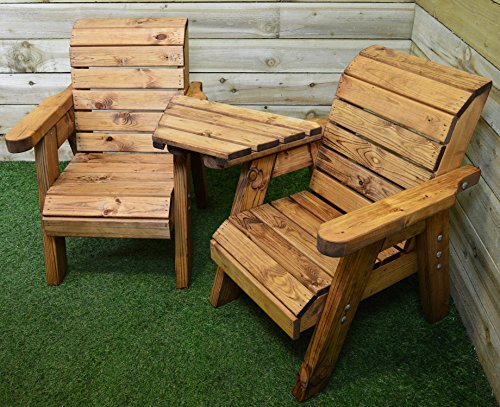 Charles Taylor Trading Kid's Hand Made Children's Garden Furniture Chunky Rustic Wooden Love Seat