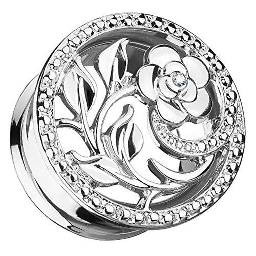 Piercingfaktor Flesh Tunnel Ohr Plug Edelstahl Piercing Ohrpiercing Vintage Tribal Ethno Boho Blume Ornament mit Strass Kristall 8mm Silber